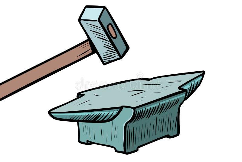 Молоток и наковальня Инструмент кузнеца иллюстрация вектора