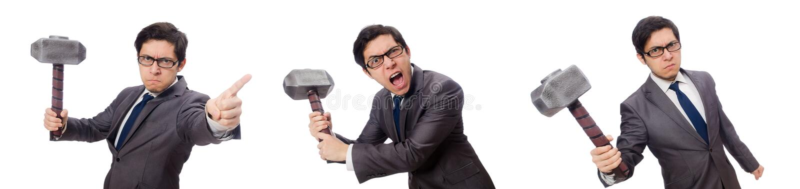Молоток удерживания бизнесмена изолированный на белизне стоковое изображение