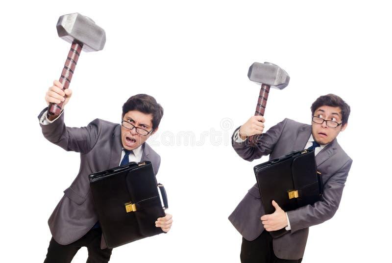 Молоток удерживания бизнесмена изолированный на белизне стоковое изображение rf