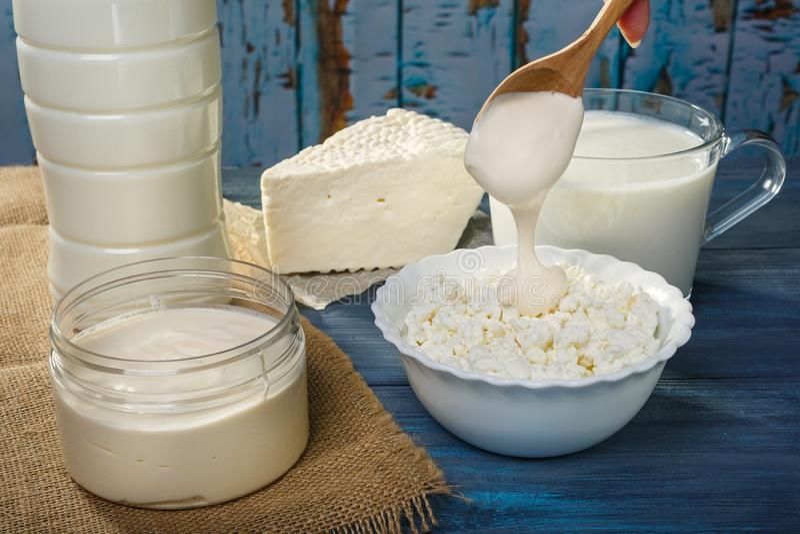 Молочные продучты фермы стоковые изображения rf