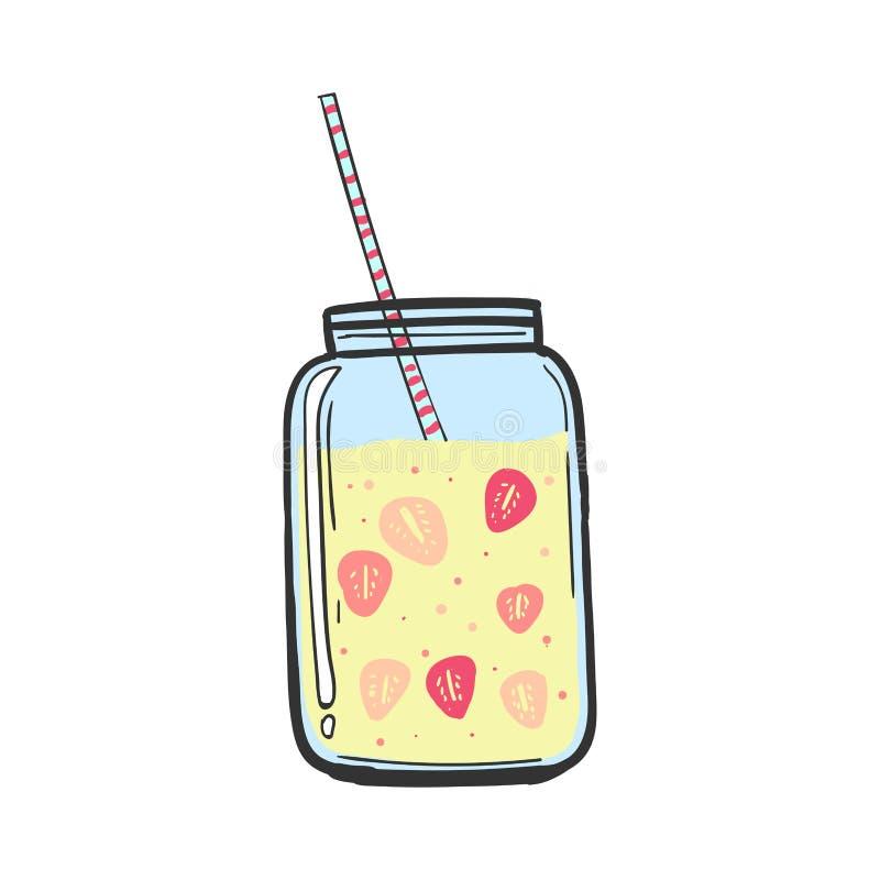 Молочный коктейль с клубникой изолированная коктеилом белизна лета тоническая Освежающий напиток Меню бара стоковая фотография