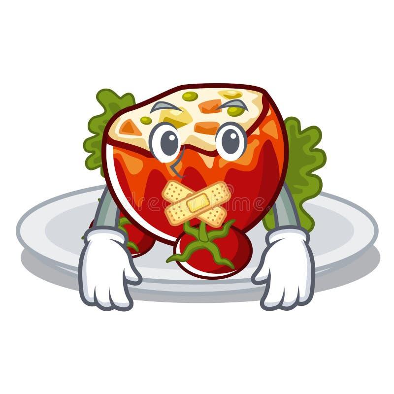 Молчаливые заполненные томаты в форме мультфильма иллюстрация штока