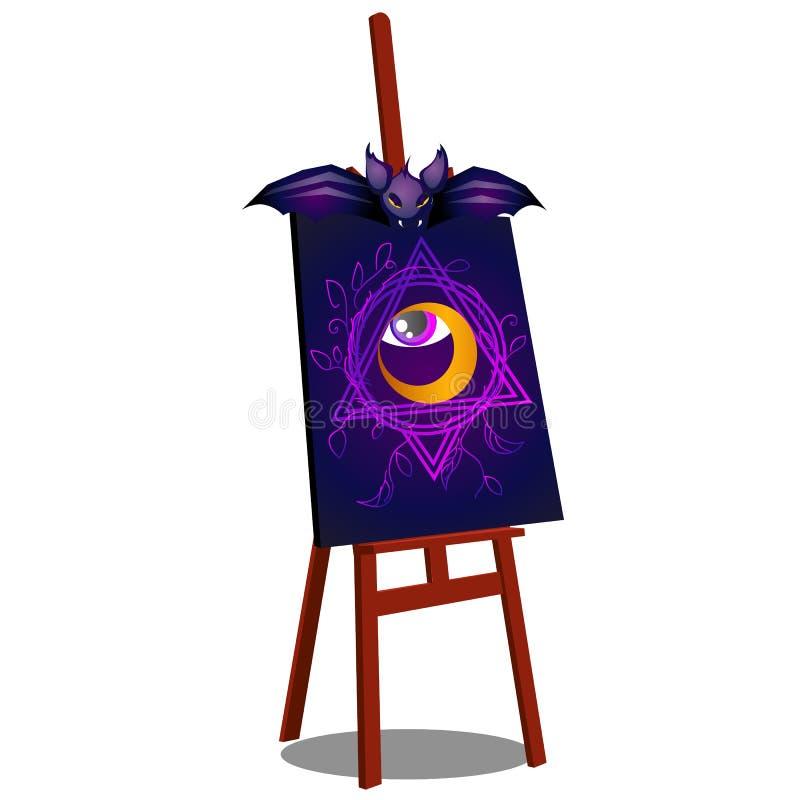 Мольберт с ужасным чертежом открытого глаза изолированного на белой предпосылке Эскиз для плаката или карточки для иллюстрация вектора