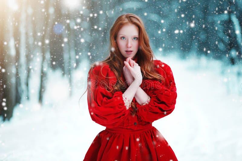 Моля женщина в красном платье в зиме Девушка сказки над ландшафтом зимы стоковые изображения