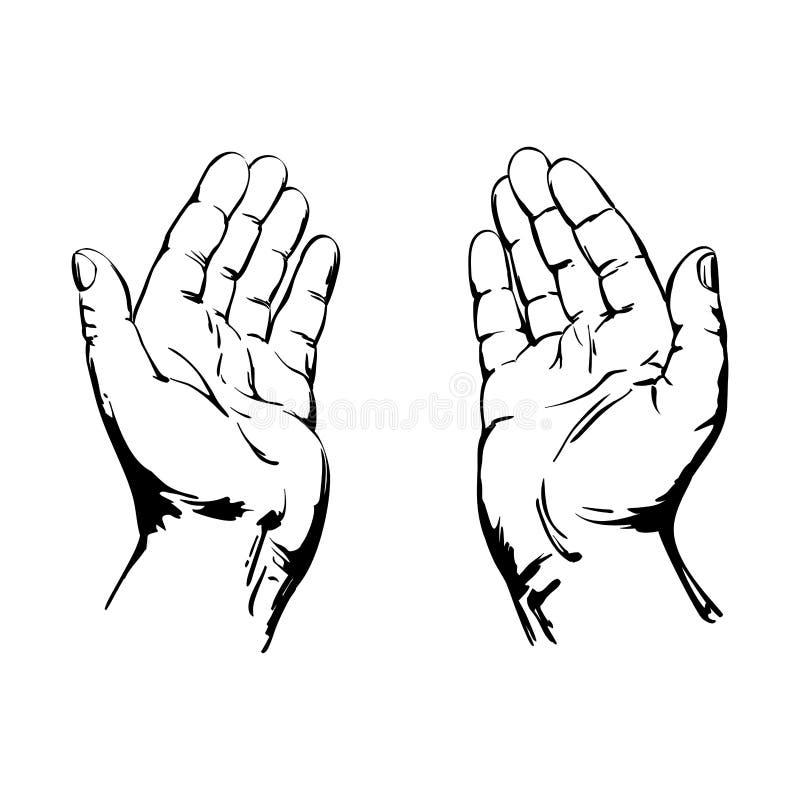 Моля руки иллюстрация вектора