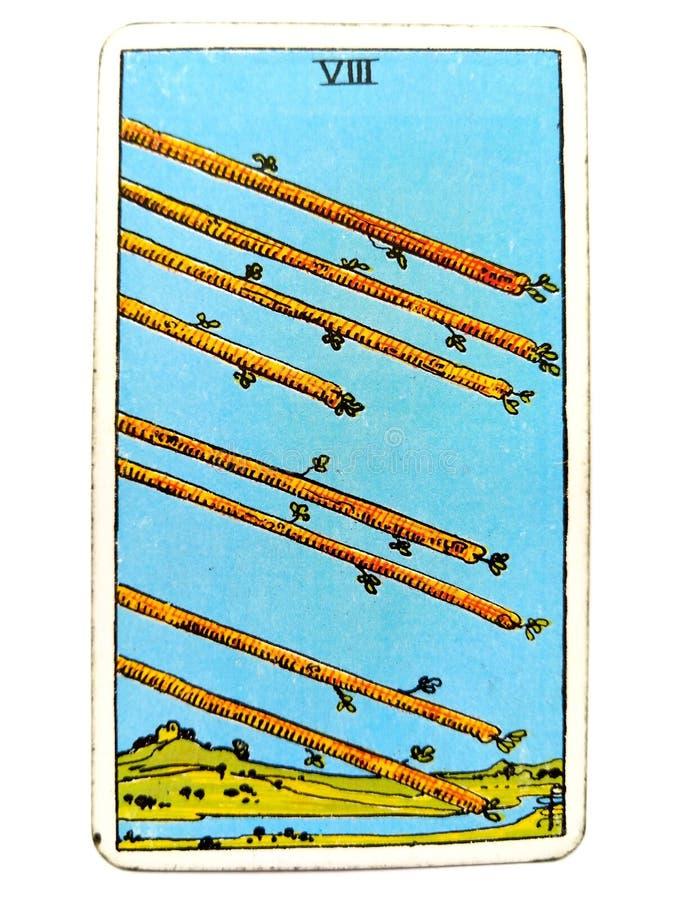 8 8 момента гонки спешкы спешности торопливости деятельности при движения действия скорости карточки Tarot палочек бесплатная иллюстрация