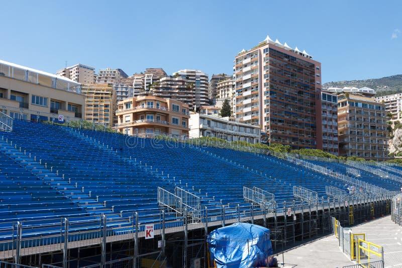 Монако Пустые трибуны перед GP Монако стоковое изображение