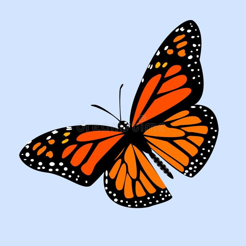 Монарх бабочки на голубой предпосылке с тенью, градиенте, 3d иллюстрация штока