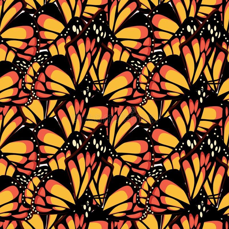 Монарх бабочки с макросом текстурировал картину крыльев безшовную иллюстрация вектора