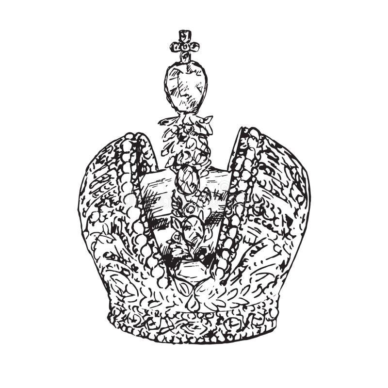Монарх кроны императора русский, doodle руки вычерченный, эскиз в стиле woodcut, иллюстрации вектора иллюстрация вектора