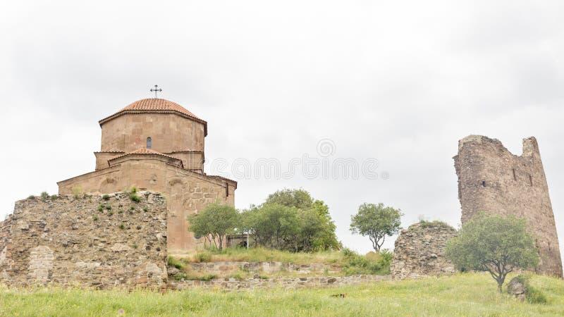 Монастырь Jvari, монастырь шестого века грузинский правоверный стоковые изображения
