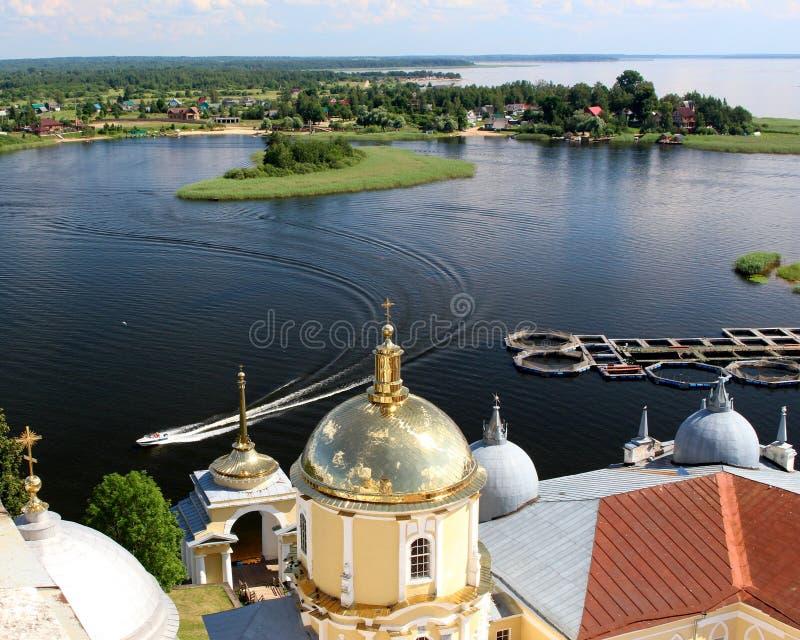 Монастырь pustyn Nilova, озеро Seliger, Россия стоковые фото