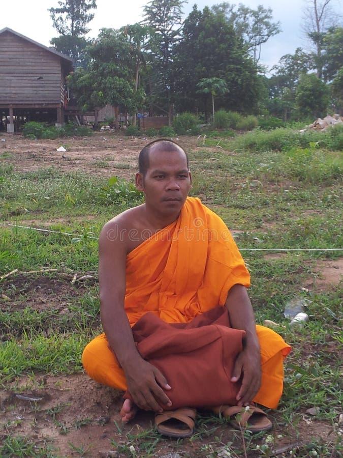 Монах культуры Камбоджи, висок стоковое изображение rf