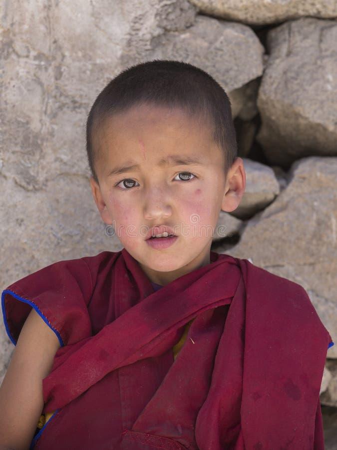 Монах портрета тибетский молодой в Ladakh Индия стоковые фото