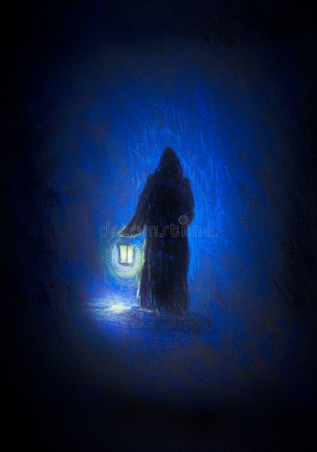 Монах с фонариком стоковое изображение rf