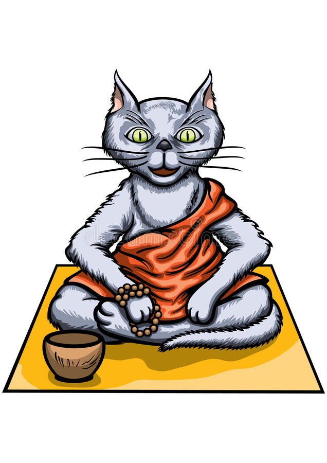 Монах тибетца кота иллюстрация штока