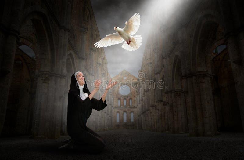 Монашка, церковь, мир, надежда, любовь, вероисповедание, христианство иллюстрация штока