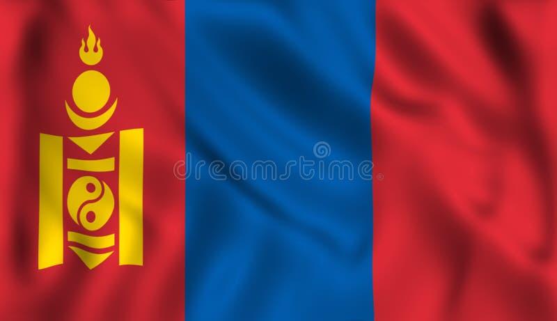 Монгол символа флага Монголии развевая иллюстрация вектора