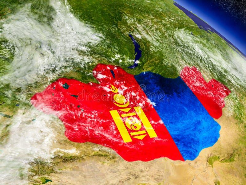 Download Монголия с врезанным флагом на земле Иллюстрация штока - иллюстрации насчитывающей климат, физическо: 81806357