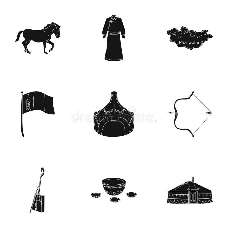 Монгольские национальные характеристики Значки установленные о Монголии Одежда, солдаты, оборудование Значок Монголии в комплекте бесплатная иллюстрация