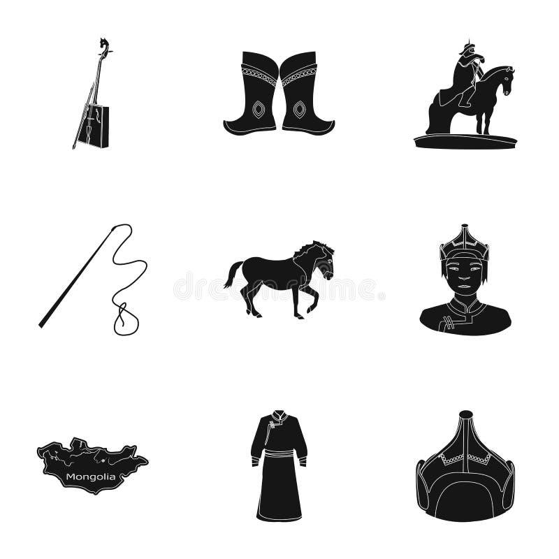 Монгольские национальные характеристики Значки установленные о Монголии Одежда, солдаты, оборудование Значок Монголии в комплекте иллюстрация вектора