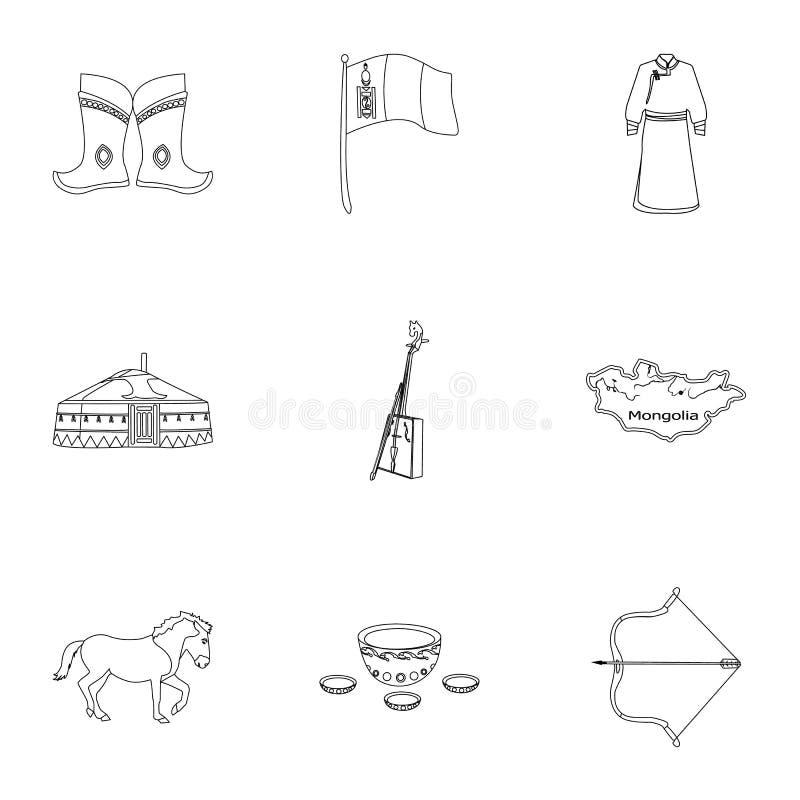 Монгольские национальные характеристики Значки установленные о Монголии Одежда, солдаты, оборудование Значок Монголии в комплекте иллюстрация штока