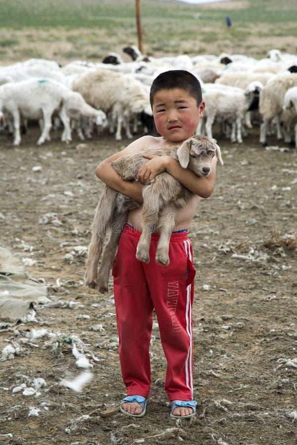 Монгольский мальчик держа козу младенца стоковое фото rf