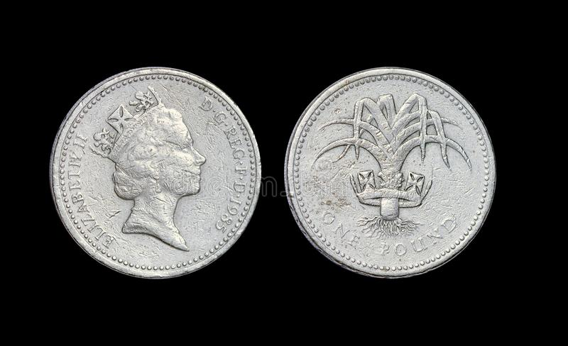 Монетка Англии старая один фунт стоковое фото rf