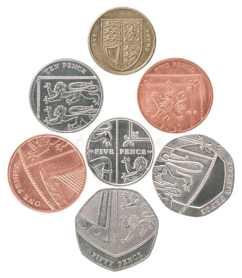Монетка Англии установленная стоковое изображение rf