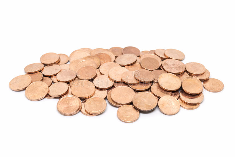 Монетка, бронзовая монетка на белой предпосылке стоковое фото rf
