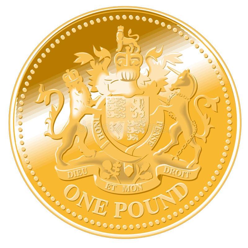 монетка детализировала один вектор фунта иллюстрация вектора