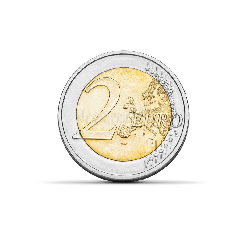 Монетка евро 2 на белой предпосылке стоковая фотография rf
