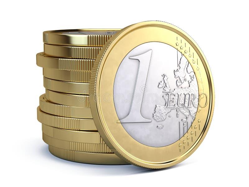 Монетка евро на белизне иллюстрация штока