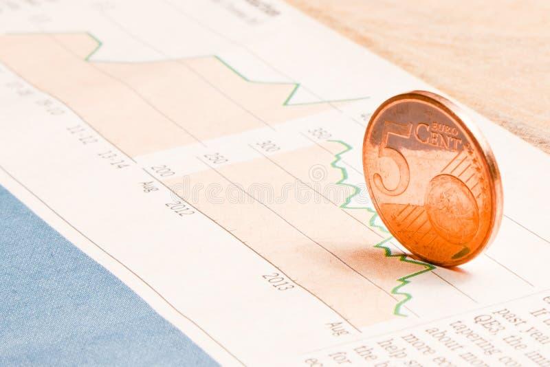 Монетка евро на финансовой диаграмме стоковое фото