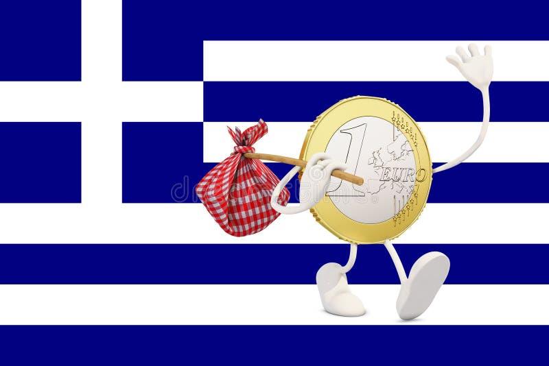 Монетка евро покидая Греция бесплатная иллюстрация