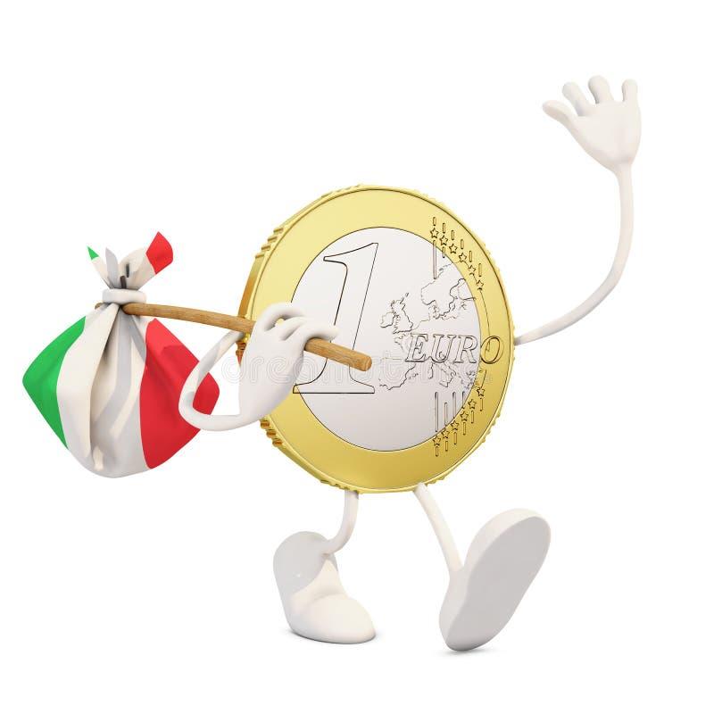 Монетка евро покидая Италия иллюстрация штока