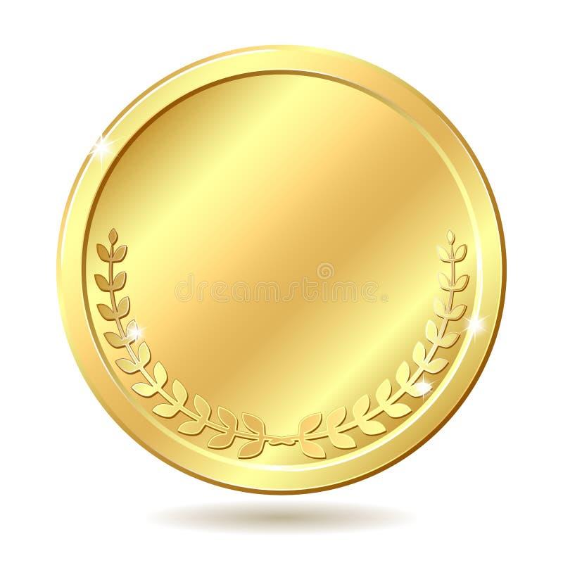 монетка золотистая иллюстрация вектора
