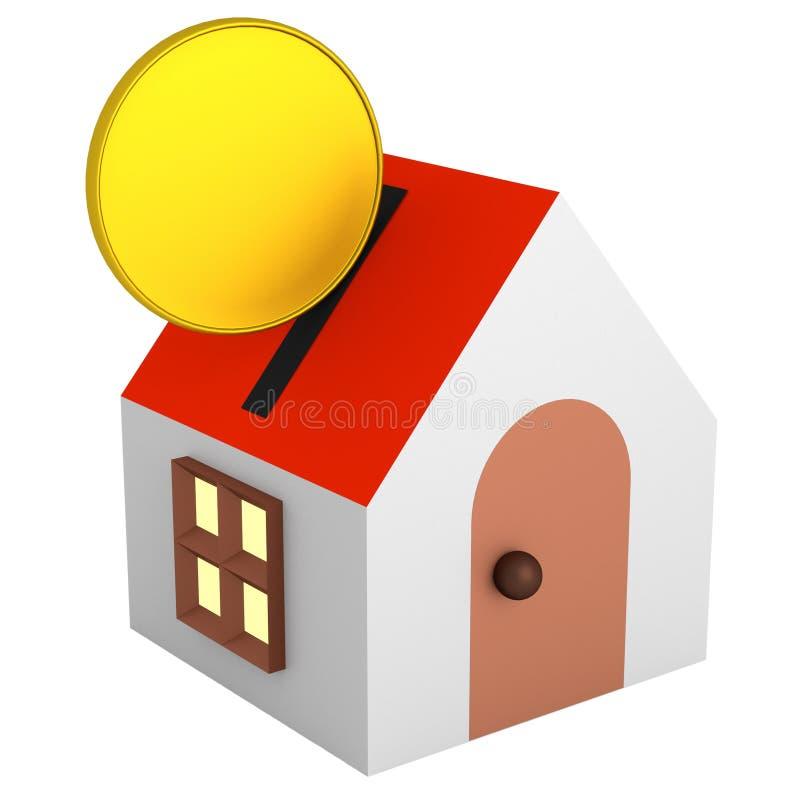 Монетка идет к денежному ящику дома иллюстрация вектора