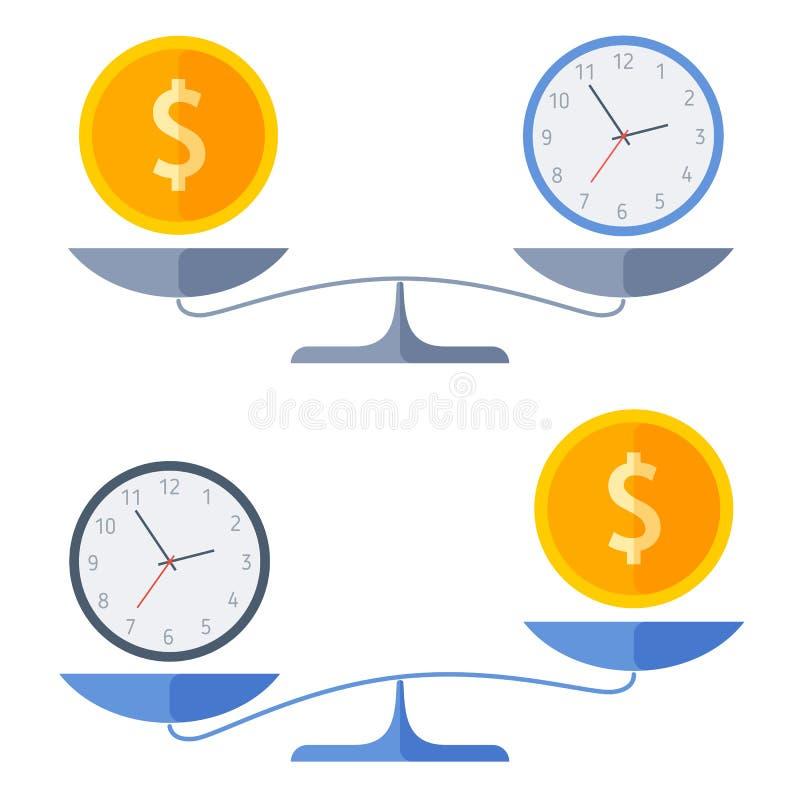 Монетка доллара и вахта на масштабы владение домашнего ключа принципиальной схемы дела золотистое достигая небо к иллюстрация вектора
