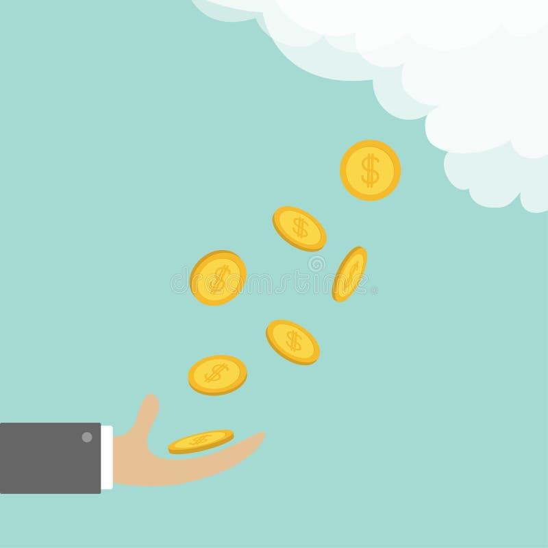 Монетка руки заразительная золотая Знак доллара денег падая вниз от неба облака Плоский стиль дизайна Комплект значка кредита дел иллюстрация вектора
