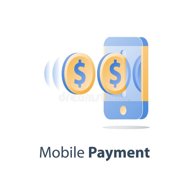 Монетка смартфона и доллара, мобильная оплата, онлайн-банкинг, финансовые обслуживания, отправляет деньги иллюстрация штока