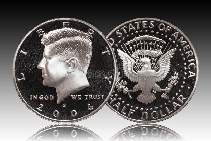 Монетка 50 США полдоллара цента, предпосылка градиента стоковое изображение