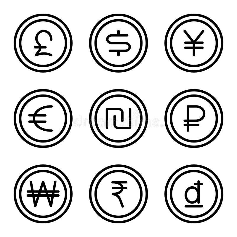 Монетка с набором 2 знака денег иллюстрация вектора