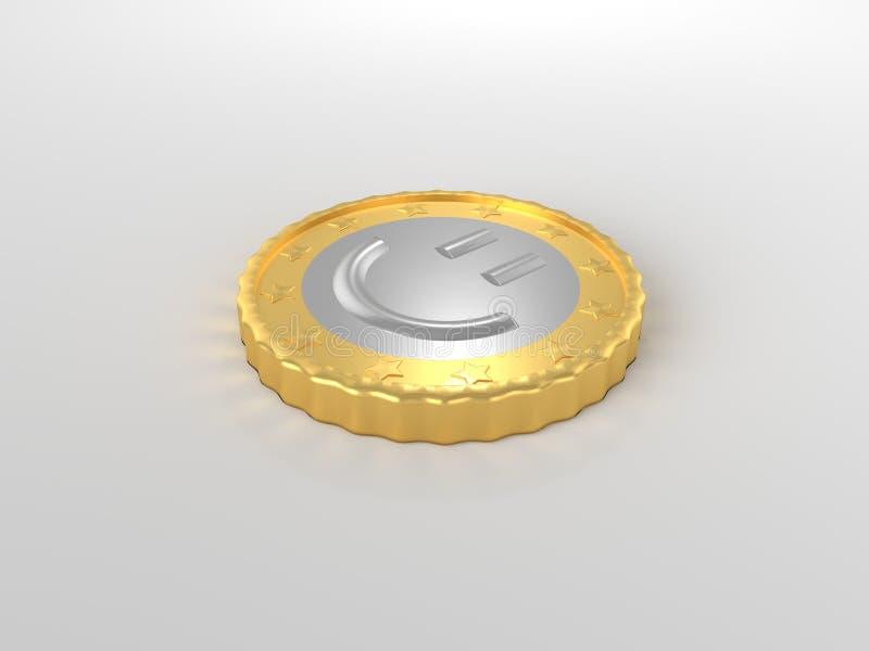 Монетка улыбки на столе 3d представляет иллюстрация вектора