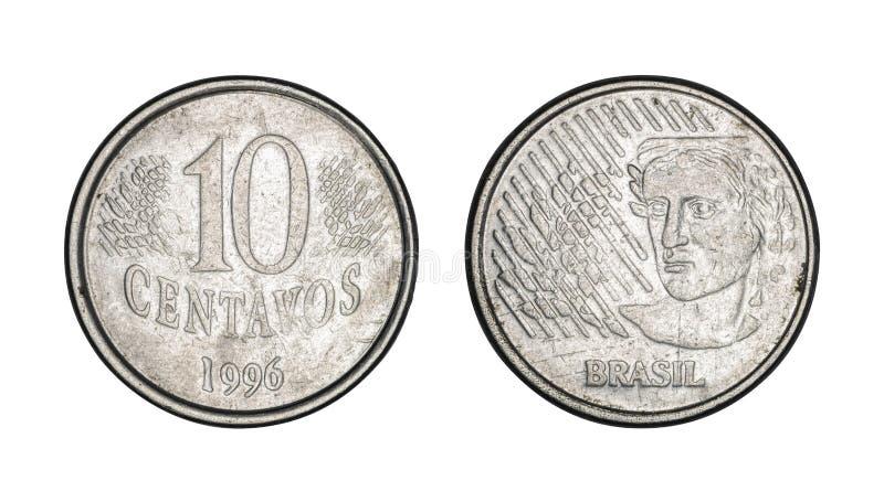 Монетка 10 центов бразильская реальная, фронт и задние стороны - старые монетки стоковая фотография