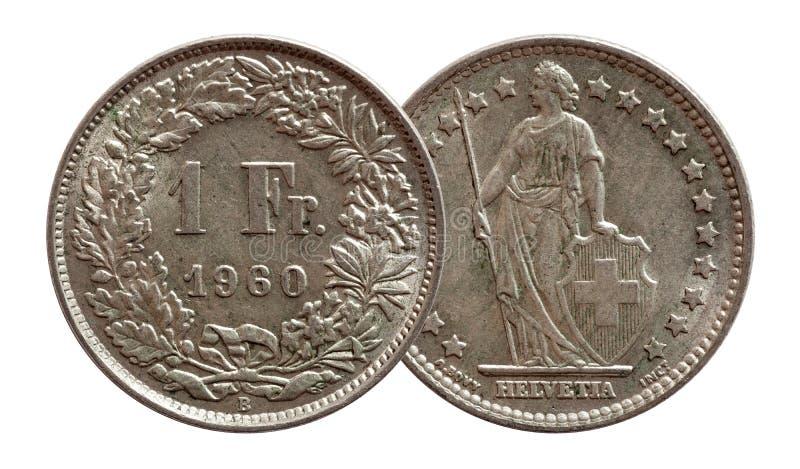 Монетка 1 Швейцарии швейцарская один серебр франка 1960 изолированный на белой предпосылке стоковые фото
