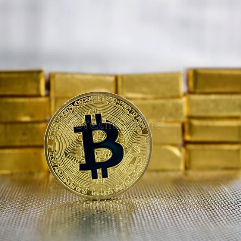 Монетка bitcoin золота стоковое изображение rf