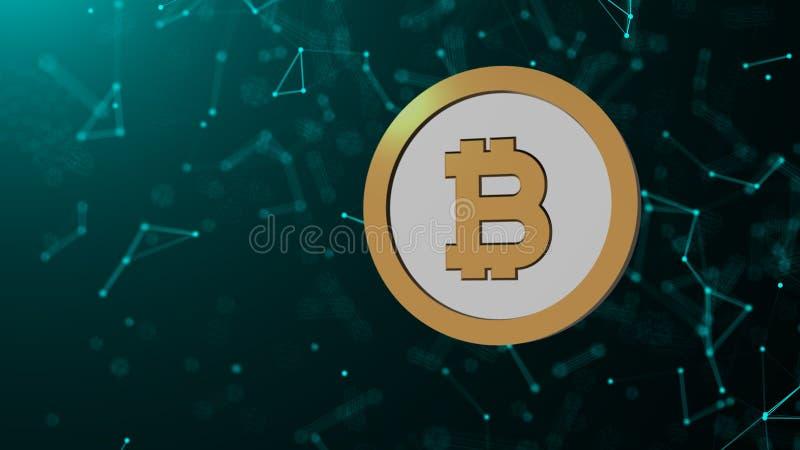 Монетка Bitcoin и много сетевых подключений, компьютер произведенная предпосылка абстрактной технологии, 3d представляют иллюстрация вектора