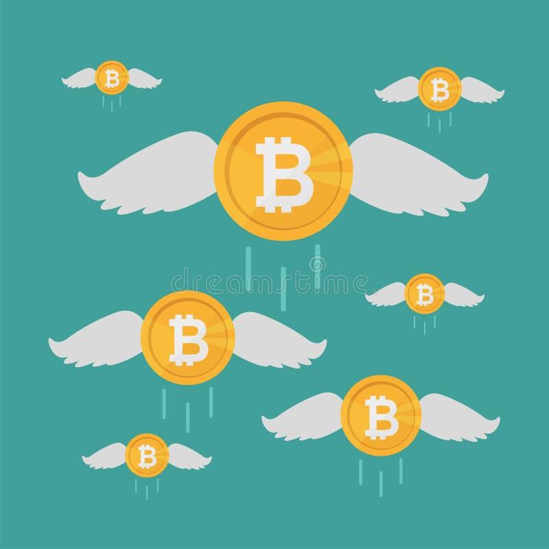 Монетка Bitcoin летает с крылами, концепцией секретной валюты растущей владение домашнего ключа принципиальной схемы дела золотис иллюстрация штока