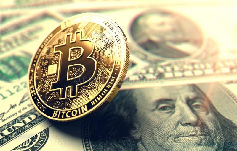 Монетка Bitcoin на американских долларовых банкнотах Bitcoin в центре внимания в концепции Соединенных Штатов перевод 3d иллюстрация вектора